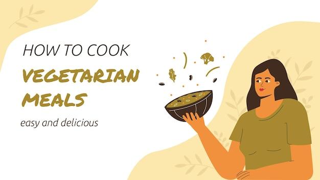 Miniatura do youtube de comida vegetariana com design plano