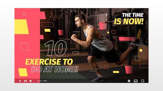 Miniatura do youtube de esporte abstrato de design plano