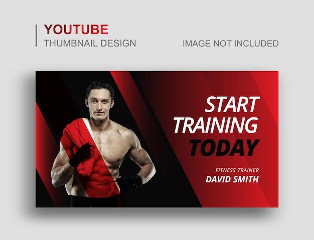 Miniatura do youtube de fitness e modelo de banner da web