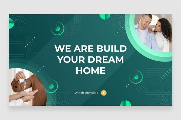 Miniatura do youtube de imóveis em design plano