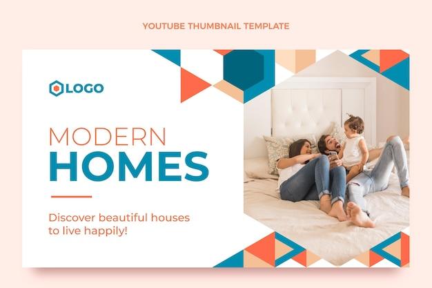 Miniatura do youtube de imóveis geométricos de design plano
