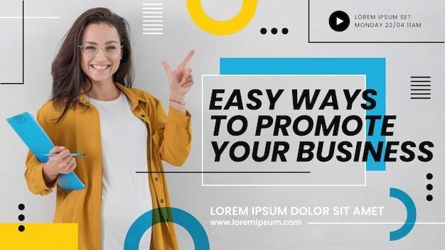 Miniatura do youtube de negócios abstrato plana Vetor Premium