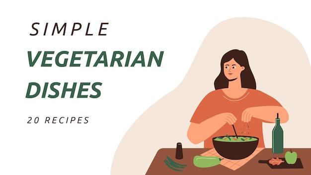 Miniatura do youtube de pratos vegetarianos de design plano