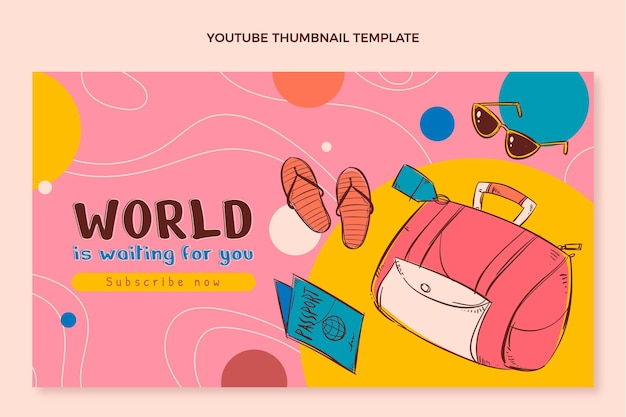 Miniatura do youtube de viagem desenhada à mão