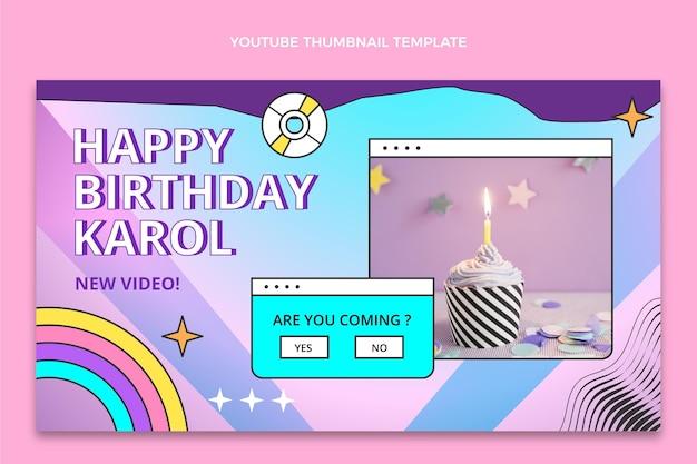 Miniatura do youtube do aniversário do gradiente retro vaporwave