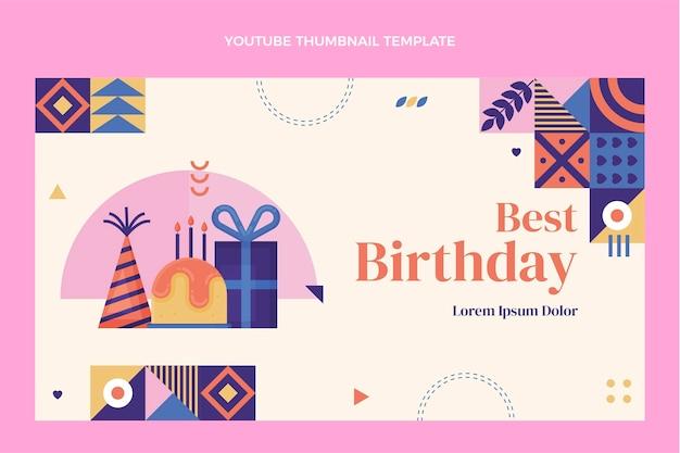 Miniatura do youtube do aniversário do mosaico do design plano