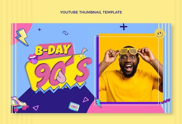 Miniatura do youtube do aniversário dos anos 90 desenhada à mão Vetor grátis