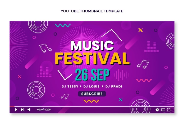 Miniatura do youtube do festival de música colorida desenhada à mão