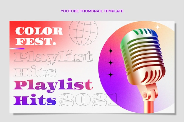 Miniatura do youtube do festival de música colorida gradiente