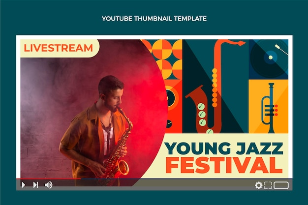 Miniatura do youtube do festival de música mosaico estilo simples