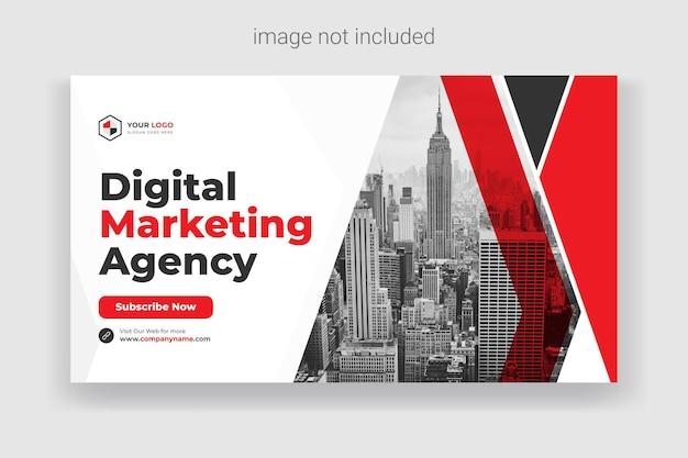 Miniatura do youtube ou banner da web para modelo de promoção de workshop de negócios ao vivo vetor premium