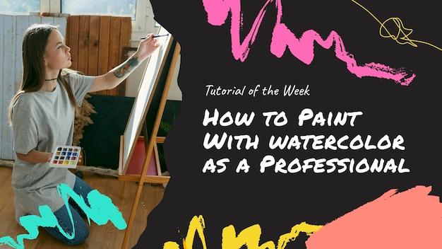 Miniatura do youtube pintado à mão em aquarela