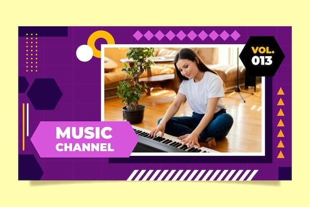 Miniatura geométrica plana do youtube de música