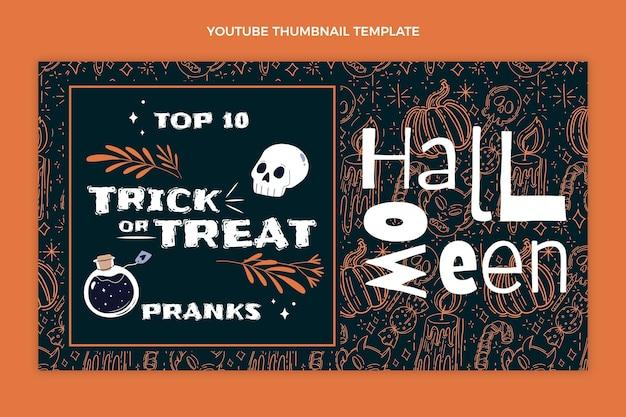 Miniatura plana desenhada à mão do youtube de halloween