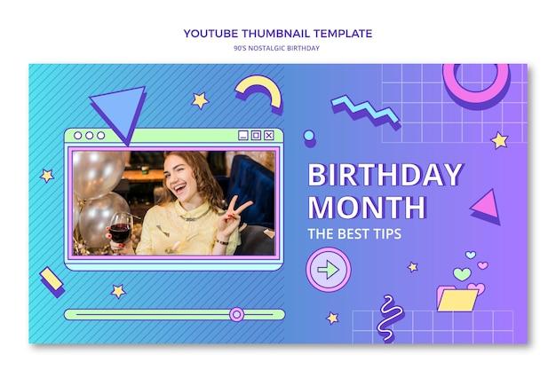 Miniatura plana do youtube de aniversário nostálgico dos anos 90