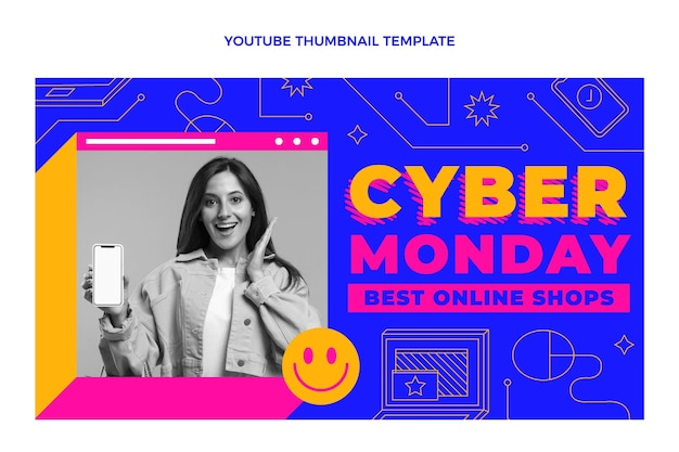Miniatura plana do youtube de segunda-feira cibernética