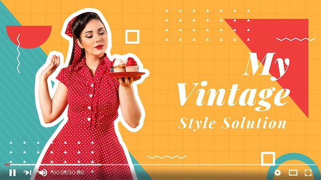 Miniatura plana geométrica de moda do youtube