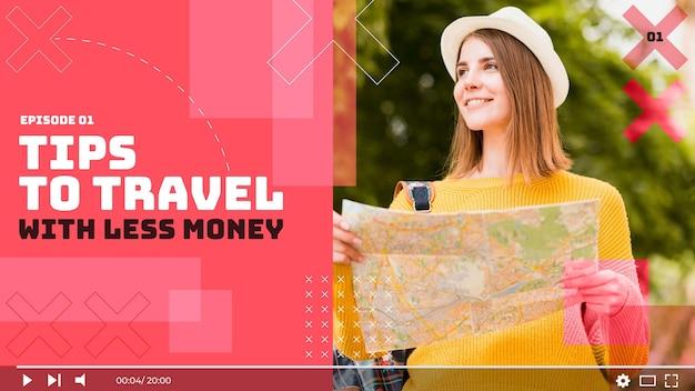 Miniatura plana geométrica de viagens no youtube