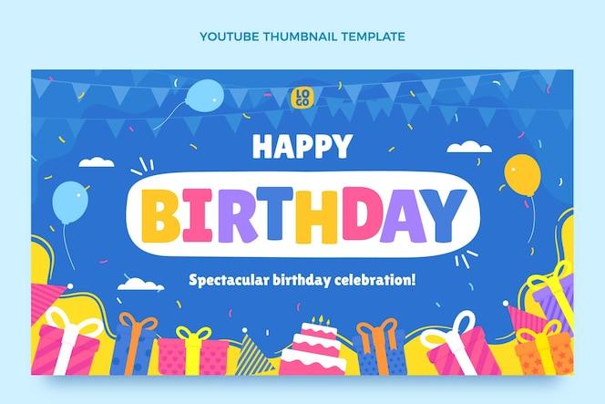 Miniatura plana mínima de aniversário do youtube