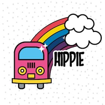 Minibus bonito com arco-íris e nuvens