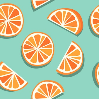 Mínima laranja de sangue, toranja, mandarim ou clementina padrão sem emenda, combinação de laranja e azul