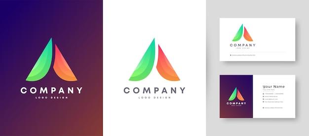 Minimal plano e colorido inicial com logotipo de letra com modelo de design de cartão de visita premium