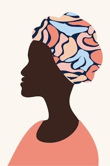 Minimalismo de perfil de rosto feminino desenhado à mão papel de parede afroamericano sala de pôster decoração de interiores