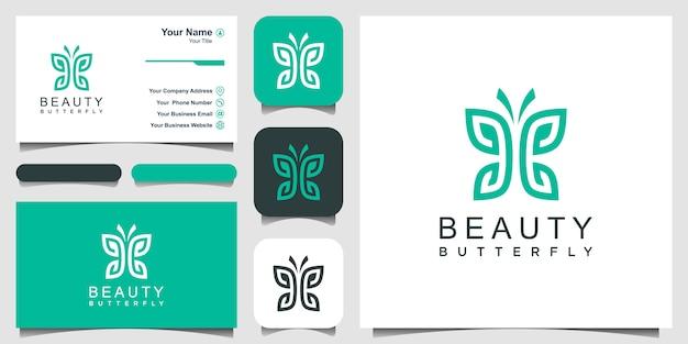 Minimalista borboleta linha arte monograma forma logotipo. beleza, estilo spa de luxo. design de logotipo, ícone e cartão de visita.