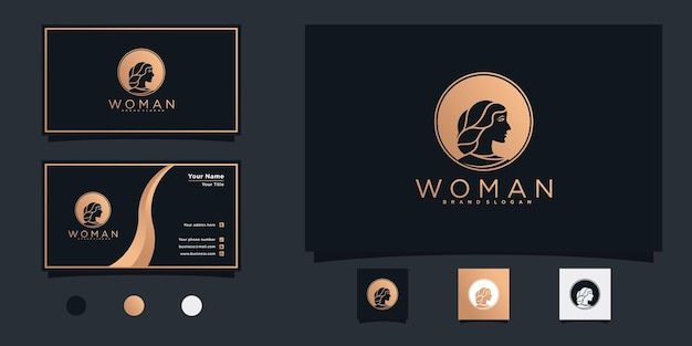 Minimalista de design de logotipo de beleza feminino com conceito de espaço negativo circular para salão de beleza vekto premium