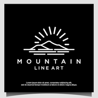 Minimalista de montanha com design de logotipo de arte de linha