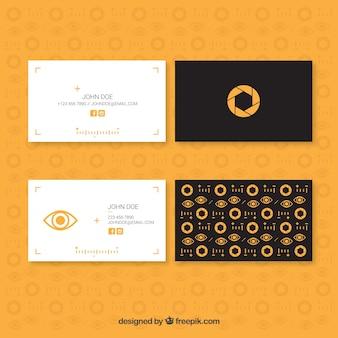 Minimalistas cartões de estúdio de fotos com detalhes amarelos