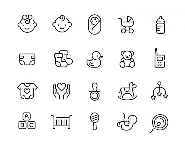 Mínimo bebê fofo relacionados ao conjunto de ícones