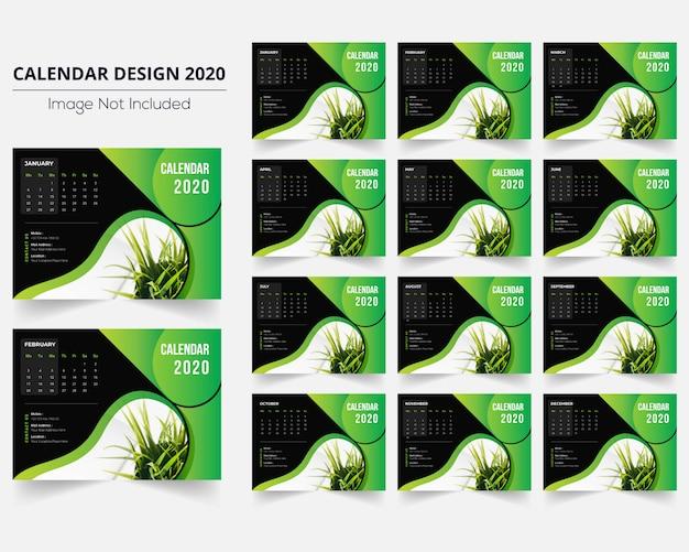 Mínimo calendário de mesa verde 2020