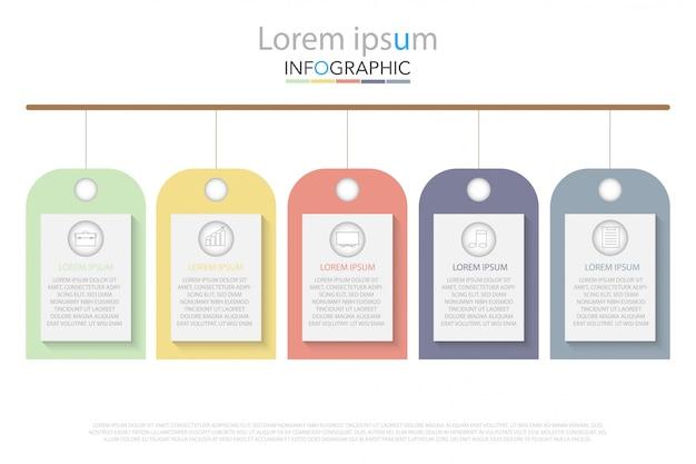 Mínimo cronograma círculo infográfico modelo cinco opções ou etapas.
