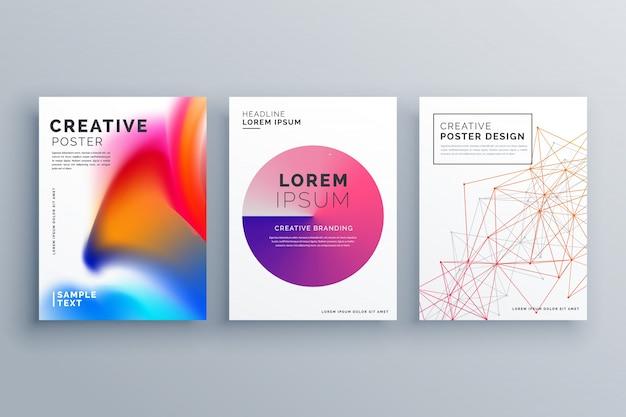 Mínimo folheto modelo layout cover design em tamanho a4 com malha de arame cores fluidas conjunto de negócios