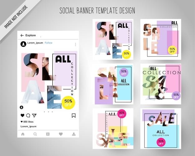 Mínimo moda banners de mídia social para marketing digital
