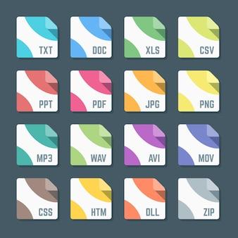 Mínimo vários formatos de arquivo colorido de design plano ícones fundo escuro
