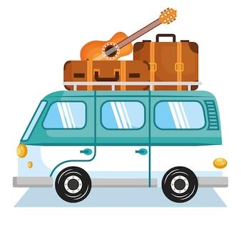 Minivan com malas de viagem e guitarra sobre a ilustração branca do backgroundvector.