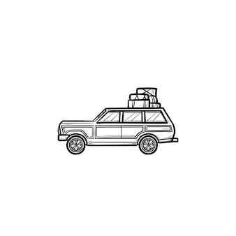 Minivan com rack de teto e ícone de doodle de contorno desenhado de mão de bagagem. viagem em família de minivan, conceito de férias. ilustração de desenho vetorial para impressão, web, mobile e infográficos em fundo branco.