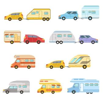 Minivan rv colorido com reboque conjunto de ícones