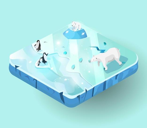 Miniworld of ice island ou piece of land vista isométrica