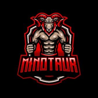 Minotauro cabra mascote logotipo esport gaming