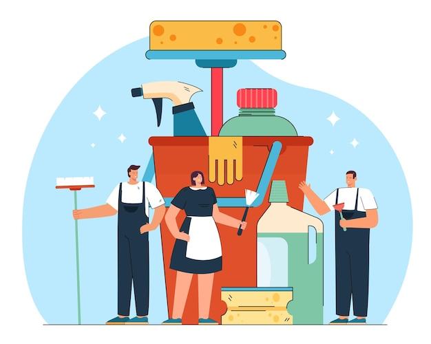 Minúscula equipe de limpeza e enorme equipamento profissional. ilustração plana