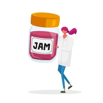 Minúscula personagem feminina em manto médico branco segurar enorme jarra de vidro com geléia.