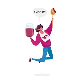 Minúscula personagem feminina feliz pulando com uma enorme jarra de geléia e uma colher nas mãos, isoladas no fundo branco.