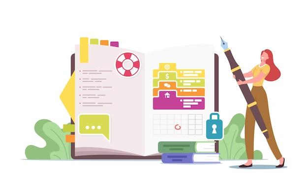 Minúscula personagem feminina no enorme diário escrevendo notas, memórias, planejando negócios, preenchendo a lista de tarefas, colocando adesivos ou fotos
