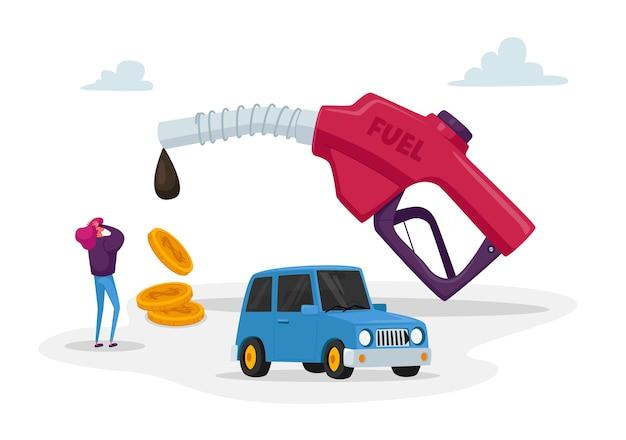 Minúscula personagem feminina no posto de gasolina na enorme arma de enchimento