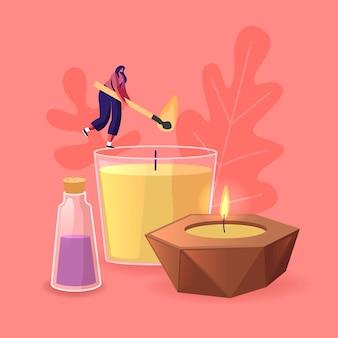 Minúscula personagem feminina queimando enormes velas aromáticas de cera ou parafina para aromaterapia e relaxamento