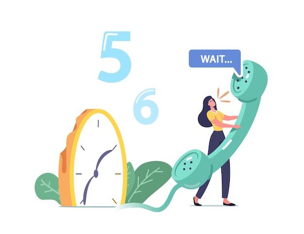Minúscula personagem feminina segurando um enorme tubo de telefone perto de um relógio derretendo