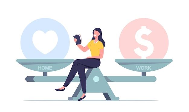 Minúscula personagem feminina senta em uma balança enorme escolha entre finanças ou amor